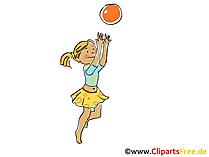 Mädchen spielt Volleyball Clipart, Bild, Cartoon, Comic, Grafik