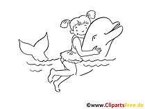 Mädchen und Delfin Zeichnung, Clipart, Bild schwarz-weiss, Grafik, Comic gratis