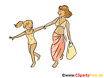 Mama mit Tochter im Urlaub Clipart, Bild, Cartoon, Comic, Grafik