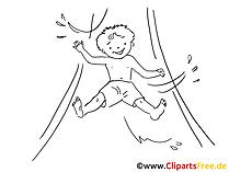 Rutschen im Freibad Zeichnung, Clipart, Bild schwarz-weiss, Grafik, Comic