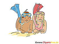 Taucher Clipart, Bild, Cartoon, Comic, Grafik