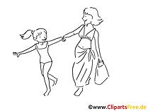 Urlaub Zeichnung, Clipart, Bild schwarz-weiss, Comic, Cartoon gratis