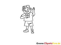 Urlauber Zeichnung, Clipart, Bild schwarz-weiss, Grafik, Comic, Cartoon