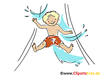 Wasserrutsche Clipart, Bild, Cartoon, Comic, Grafik