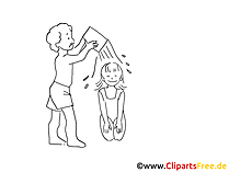 Wasserspiele Zeichnung, Clipart, Bild schwarz-weiss, Grafik, Cartoon gratis