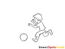 Zeichnung Kind spielt mit Ball am Strand