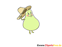 Witzige Birne Cartoon-Illustration, Bild, Clipart