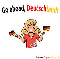 Deutsche Frau Fussballfan Clipart-Bild kostenlos