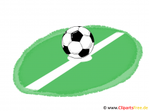 Fussball Ball auf dem Fussballfeld Clipart, Bild, Illustration