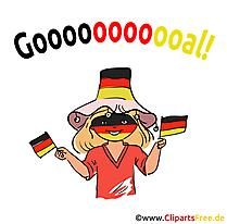German girl football fan clip art, picture, image