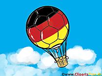 Heißluftballon als Fußball in Schwarz Rot Gold Clipart-Bild