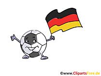 Maskottchen Fussball mit Fahne Deutschland Bild-Clipart
