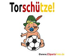 Torschütze Baby mit Fussball Clipart