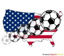 Kaart van de VS met vliegende voetballen afbeelding