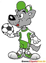 Serigala berbaju sepak bola dengan komik bola, kartun, clipart