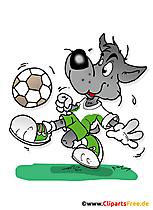 Serigala memainkan ilustrasi sepak bola, komik, kartun