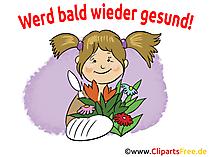 Gute genesung Glueckwunschkarte, Grusskarte, GB Bild, Clipart