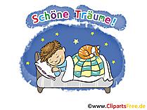 Gute Nacht und schöne Träume Karte, GB Bild, Cartoon gratis