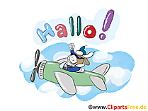 Hallo Cartoon Clipart, Bild, Grafik, Grusskarte