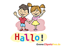 Hallo Kinder Clipart, Bild, Grafik, Karte, Cartoon