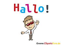 Hallo sagen Grusskarte, Bild, Clip Art, Cartoon