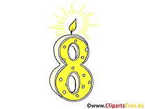 8 Geburtstag Geburtstagstorte mit Kerze Clipart