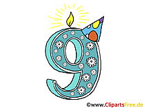 9 urodziny karty graficznej clipart