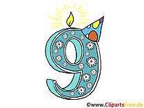 9 Geburtstag Bild-Karte-Clipart