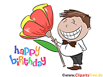 Birthday Clipart, Smiling Boy, Flower, free Image