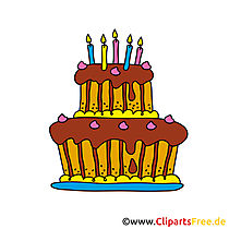 Utklipp Happy Birthday - Birthday Cake Cartoon