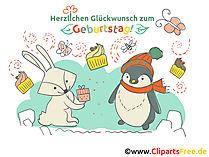 Cliparts Geburtstag mit Hase und Pinguine