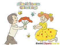 Geburtstag Bild Frau und Mann mit Blumenstrauß