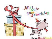 Geburtstag Wunsch Karte, Hund mit Geschenken
