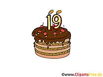 Ilustracja tort urodzinowy, obraz, grafika