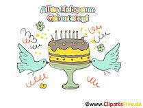 Geburtstagstorte mit Kerzen Clipart, Karte zum Drucken