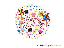 Happy Birthday Clipart, Grafik, E-Karte, Bild kostenlos herunterladen