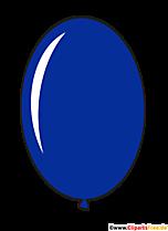 Owalny balon w kolorze niebieskim w stylu cartoon clipart, ilustracja