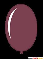 Brązowy owalny balon clipart w stylu kreskówki