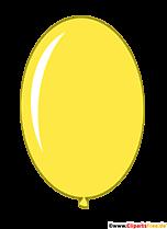 Żółty kolor owalny balon w stylu cartoon clip art obraz ilustracji