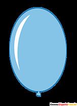 Owalny balon w jasnoniebieskim kolorze w stylu cartoon clipart