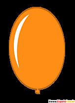 Owalny balon w kolorze pomarańczowym clipart w stylu kreskówki