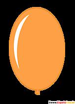 Balon owalny w kolorze pomarańczowym w stylu cartoon clip art obraz ilustracji