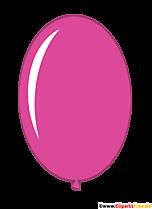 Owalny różowy balon w stylu cartoon clipart, ilustracja