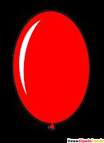 Owalny balon w kolorze czerwonym w stylu cartoon clipart, ilustracja