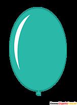 Owalny balon w kolorze turkusowym kreskówka clipart przezroczysty