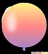Ballon rond en dégradé de couleurs du violet au jaune clipart