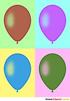 Quatre ballons en illustration pop art couleurs vintage