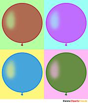 Quatre ballons ronds illustration PopArt