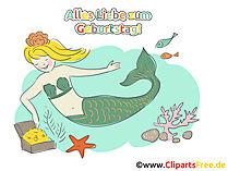 Syrenka Clipart, Happy Birthday Card