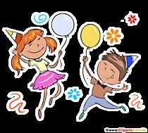 Kinder tanzen auf Geburtstagsparty T-Shirt Design kostenlos